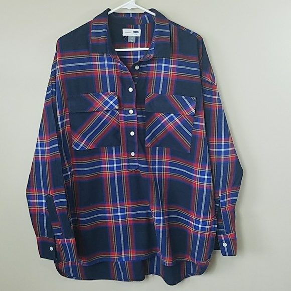 Old Navy Tops - Old Navy Boyfriend Fit Plaid Popover Shirt